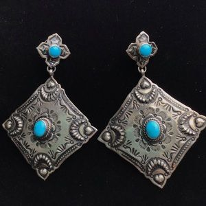 Navajo Bicenti Turquoise Sterling Silver Earrings